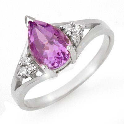 Certified 1.35ctw Diamond & Amethyst Ring White Gold