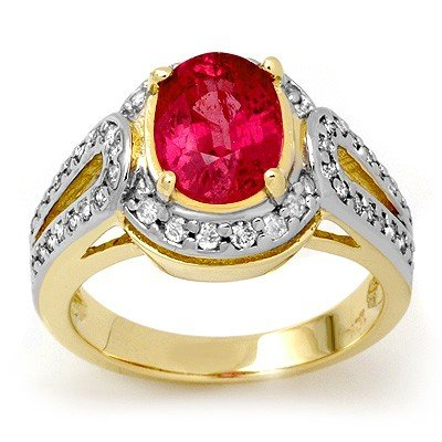 ACA Certified 3.50ctw Pink Sapphire & Diamond Ring Gold