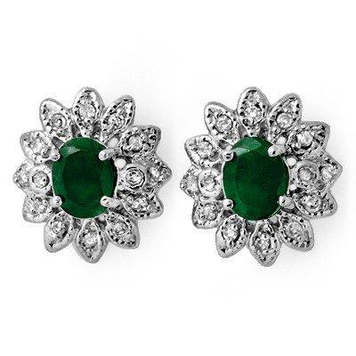 Certified 3.10ctw Diamond & Emerald Stud Earrings Gold