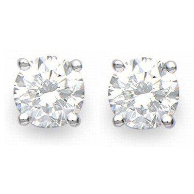 Solitaire 2.50ctw Diamond Stud Earrings 14KT White Gold