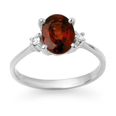 Certified 1.54ctw Garnet & Diamond Ring White Gold