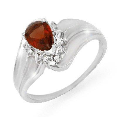 Vintage Style0.76ctw Diamond & Garnet Ring White Gold