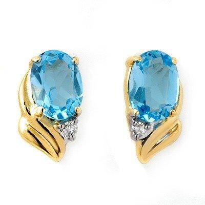 Certified 1.23ctw Blue Topaz & Diamond Earrings Gold