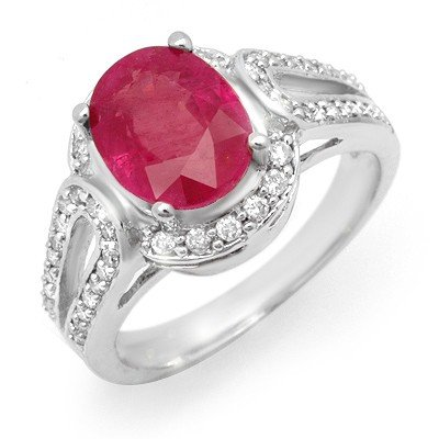Certified 4.50ctw Ruby & Diamond Ladies Ring White Gold