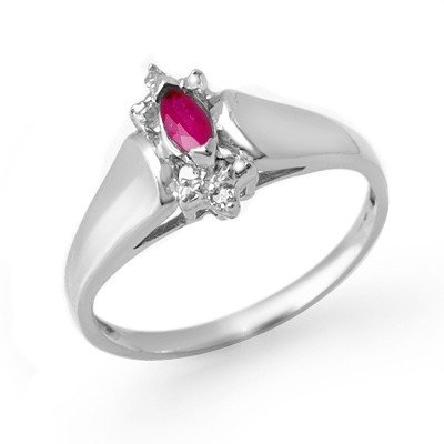 Certified 0.22ctw Diamond & Ruby Ladies Ring White Gold