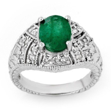 Certified 3.80ctw Diamond & Emerald Ring 14K Gold