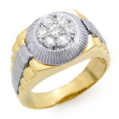 Famous Brand 3/4ctw Diamond Men's Ring in Two Tone Gold