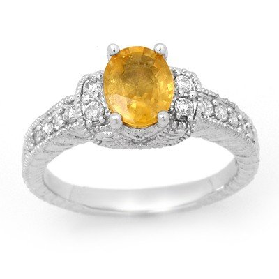 Elegant 2.25ctw Yellow Sapphire & Diamond Ring 14K Gold