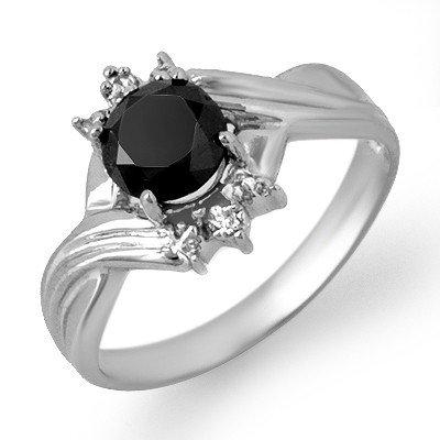 ACA Certified 1.0ct White/Black Diamond Ring White Gold