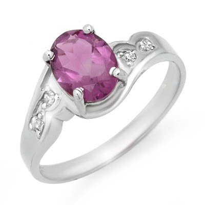 Certified 1.26ctw Diamond & Amethyst Ring White Gold