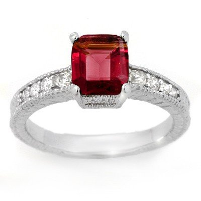 CERTIFIED 2.25ctw RUBELLITE & DIAMOND RING 14KT GOLD