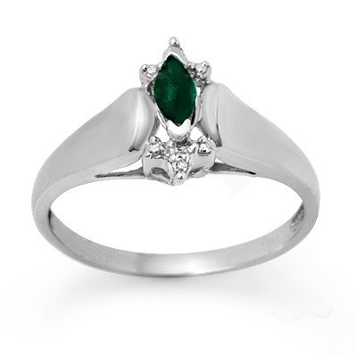 Certified 0.22ctw Diamond & Emerald Ring White Gold