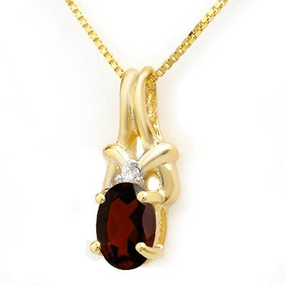 Certified  1.0ctw Garnet & Diamond Pendant Yellow Gold