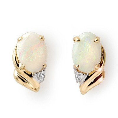 Certified 1.03ctw Opal & Diamond Ladies Earrings Gold