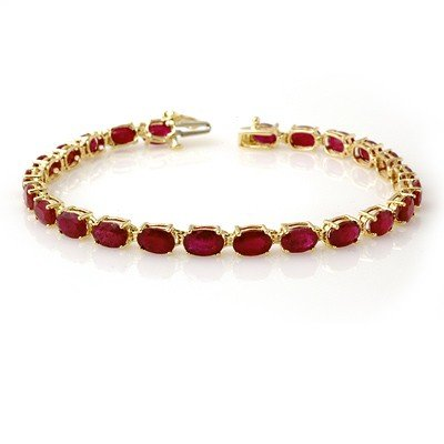 ACA Certified 16.0ctw Ruby Tennis Bracelet Yellow Gold