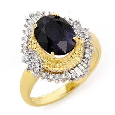 ACA Certified 3.01ctw Sapphire & Diamond Ring 14K Gold