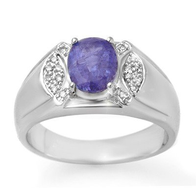 ACA Certified 2.65ct Tanzanite & Diamond Mens Ring Gold
