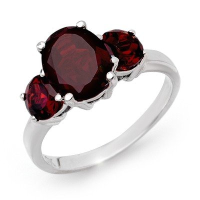 ACA Certified 3.05ctw Garnet Ladies Ring White Gold