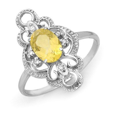 ACA Certified .81ctw Citrine & Diamond Ring White Gold