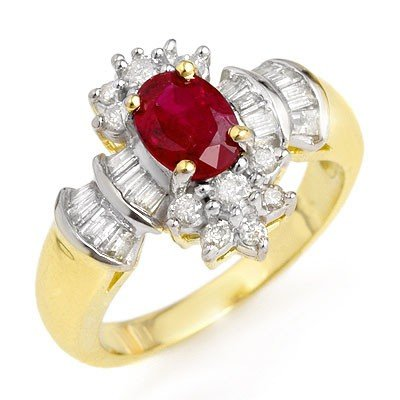 Certified 1.78ctw Ruby & Diamond Ring 14K Yellow Gold