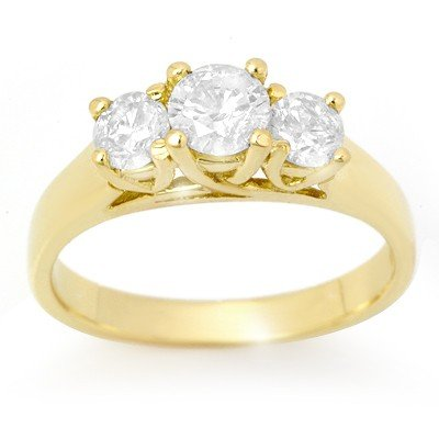 Certified 0.85ctw Three-Stone Diamond Ring 14K Gold
