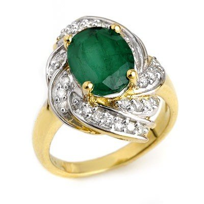 ACA Certified 3.29ctw Emerald & Diamond Ring 14K Gold