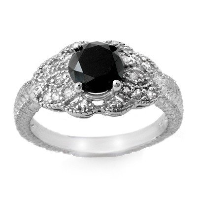 ACA Certified 1.75ct White/Black Diamond Ring 14K Gold