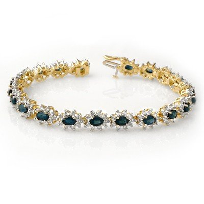 Certified 12.0ctw Sapphire & Diamond Bracelet 14K Gold