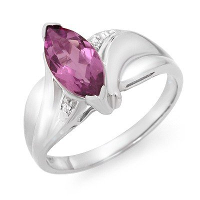 Certified 1.25ctw Amethyst & Diamond Ring White Gold