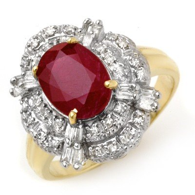 Overstock 2.84ctw Certified Ruby & Diamond Ring Gold