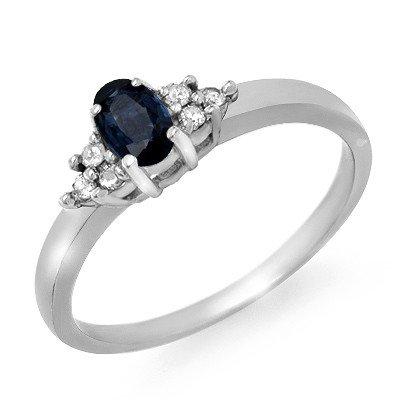 Certified .42ctw Sapphire & Diamond Ring White Gold