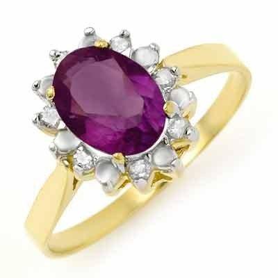Certified 1.26ctw Amethyst & Diamond Ladies Ring Gold