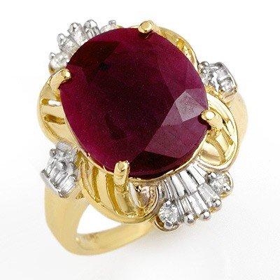 Certified 6.70ct Ruby & Diamond Ladies Ring Yellow Gold