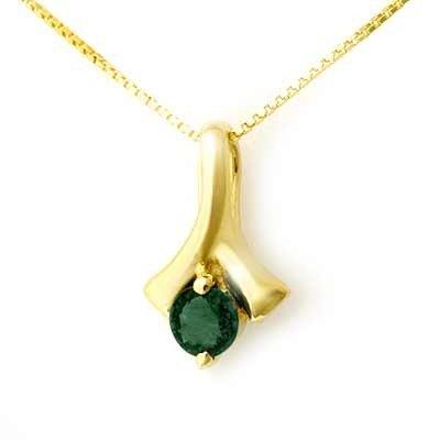 Genuine 0.25 ctw Emerald Pendant 10K Yellow Gold