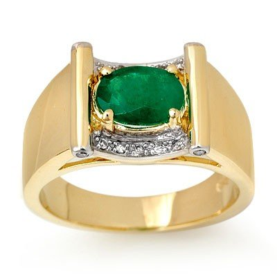 Genuine 1.83 ctw Emerald & Diamond Men's Ring 10K Gold