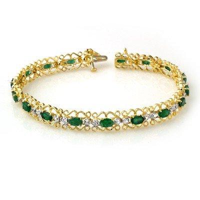Genuine 4.02 ctw Emerald & Diamond Bracelet Yellow Gold