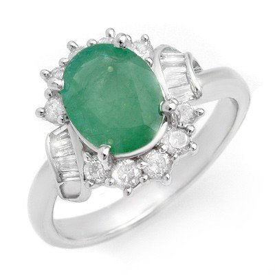 Genuine 2.64 ctw Emerald & Diamond Ring 14K White Gold