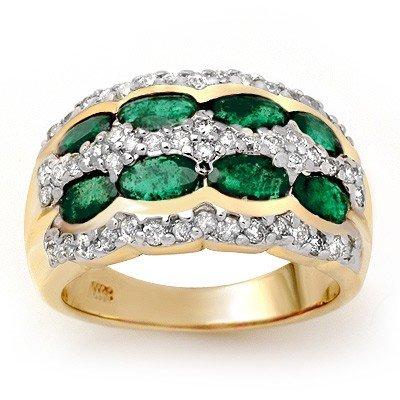 Genuine 2.25 ctw Emerald & Diamond Ring 14K Yellow Gold