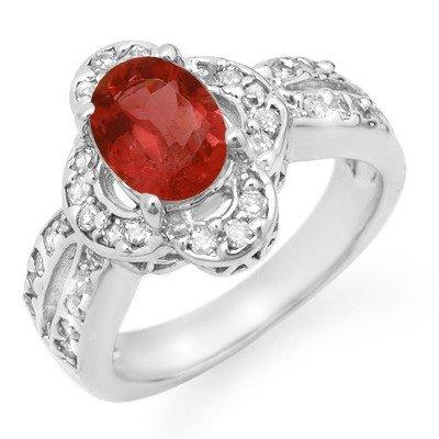 Genuine 2.60 ctw Pink Tourmaline & Diamond Ring Gold