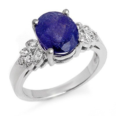 Genuine 3.5ct Tanzanite & Diamond Ring 14K White Gold
