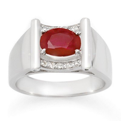 Genuine 2.33 ctw Ruby & Diamond Men's Ring White Gold