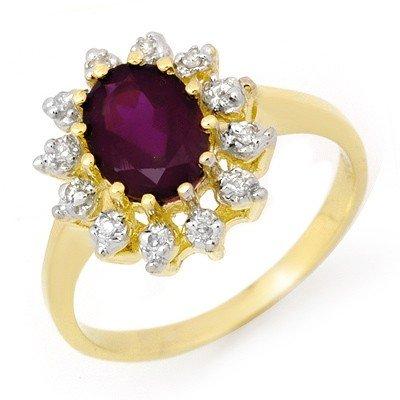 Genuine 1.19ctw Amethyst & Diamond Ring 10K Yellow Gold