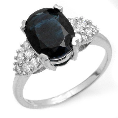Genuine 3.8 ctw Sapphire & Diamond Ring 10K White Gold