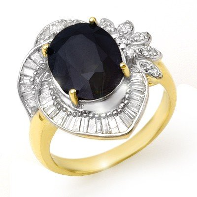 Genuine 5.55ctw Sapphire & Diamond Ring 14K Yellow Gold
