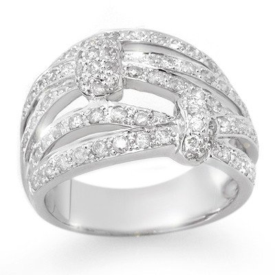Natural 1.0 ctw Diamond Ring 14K White Gold