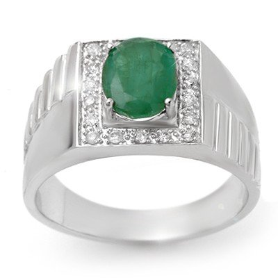 Genuine 2.25 ctw Emerald & Diamond Men's Ring 10K Gold