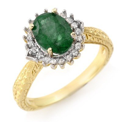 Genuine 2.35 ctw Emerald & Diamond Ring 10K Yellow Gold