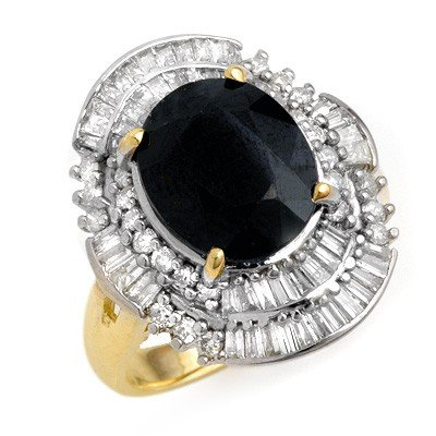 Genuine 5.95 ctw Sapphire & Diamond Ring 14K Yellow Gol