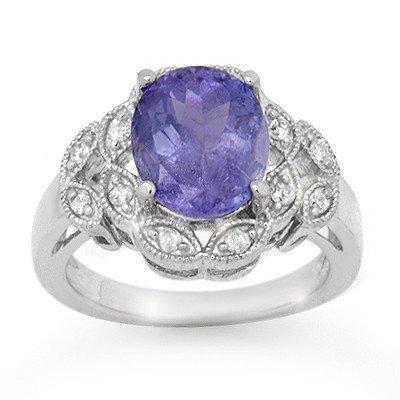 Genuine 4.25ct Tanzanite & Diamond Ring 10K White Gold