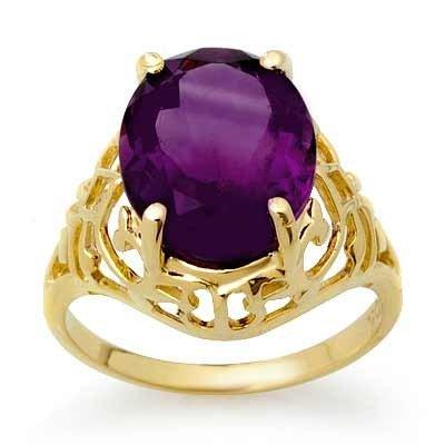 Genuine 4.5 ctw Amethyst Ring 10K Yellow Gold